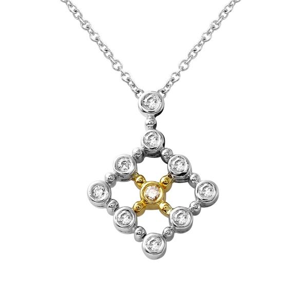 Natural 0.26 CTW Diamond & Pendant 14K Two Tone Yellow Gold - REF-53N3Y
