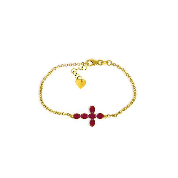 Genuine 1.70 ctw Ruby Bracelet 14KT Yellow Gold - REF-66F2Z