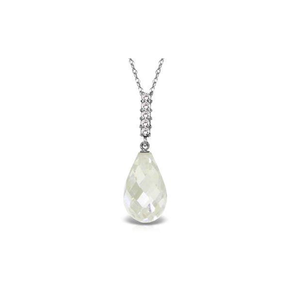Genuine 7.18 ctw White Topaz & Diamond Necklace 14KT White Gold - REF-29K2V