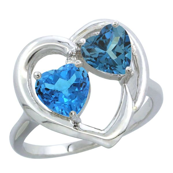 2.61 CTW Diamond, Swiss Blue Topaz & London Blue Topaz Ring 14K White Gold - REF-34W2F