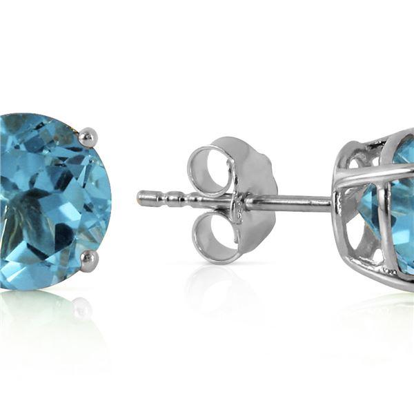 Genuine 3.1 ctw Blue Topaz Earrings 14KT White Gold - REF-23R9P