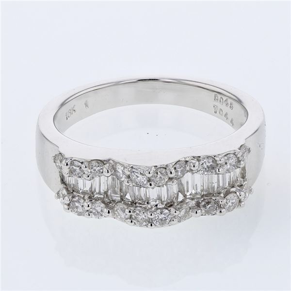 Natural 0.89 CTW Diamond & Baguette Ring 18K White Gold - REF-134N3Y