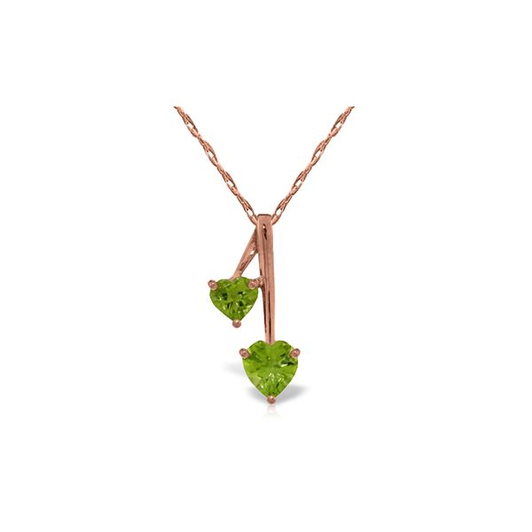 Genuine 1.40 ctw Peridot Necklace 14KT Rose Gold - REF-23N8R