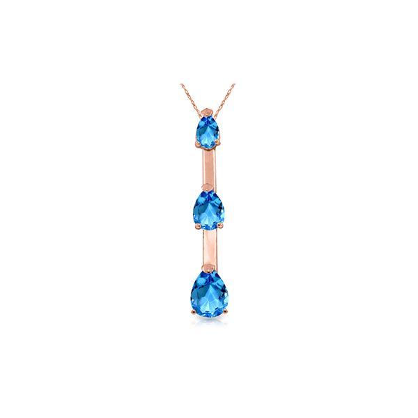 Genuine 1.71 ctw Blue Topaz Necklace 14KT Rose Gold - REF-27F5Z