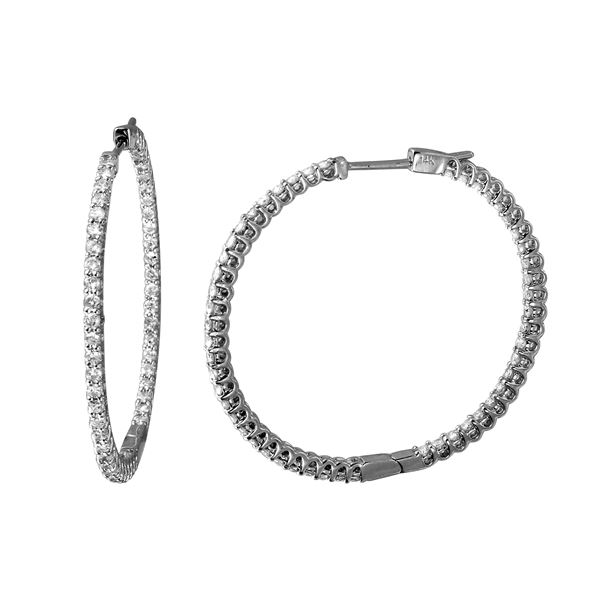 1.75 CTW White Round Diamond Hoop  Earring 14K White Gold - REF-172H7N