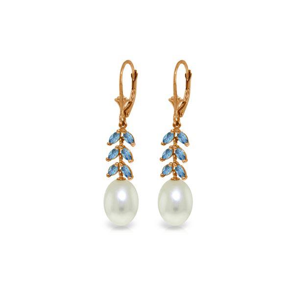 Genuine 9.2 ctw Blue Topaz Earrings 14KT Rose Gold - REF-45M8T