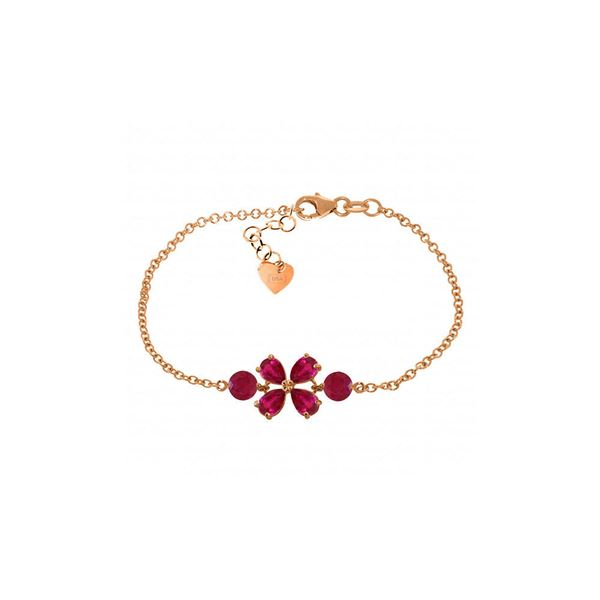 Genuine 3.15 ctw Ruby Bracelet 14KT Rose Gold - REF-71M9T