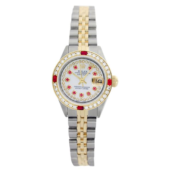 Rolex Pre-owned 26mm Womens Custom String White Dial Two Tone
