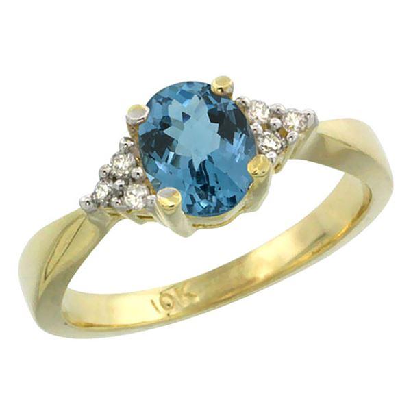 1.06 CTW London Blue Topaz & Diamond Ring 10K Yellow Gold - REF-28H5M