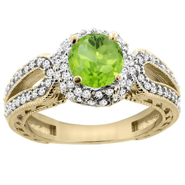 1.25 CTW Peridot & Diamond Ring 14K Yellow Gold - REF-86M7A