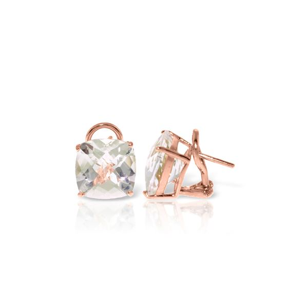 Genuine 7.2 ctw White Topaz Earrings 14KT Rose Gold - REF-46F5Z