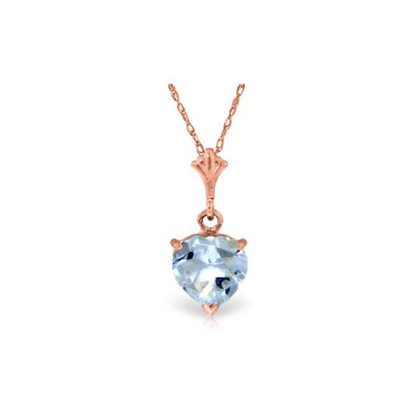 Genuine 1.15 ctw Aquamarine Necklace 14KT Rose Gold - REF-22A8K