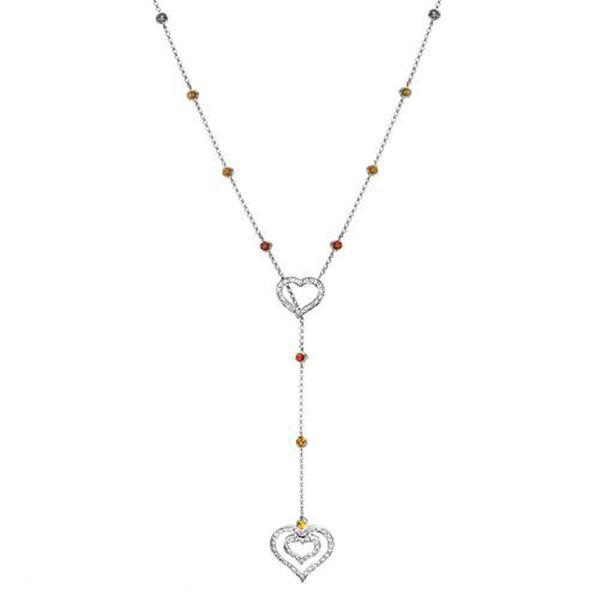 Natural 2.17 CTW Multi-Sapphire & Diamond Necklace 14K White Gold - REF-112F5M
