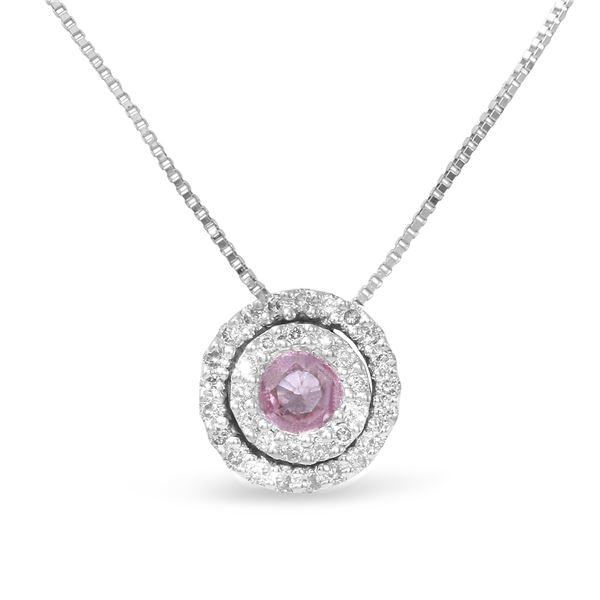 Natural 0.41 CTW Pink Sapphire & Diamond Necklace 14K White Gold - REF-24N3Y