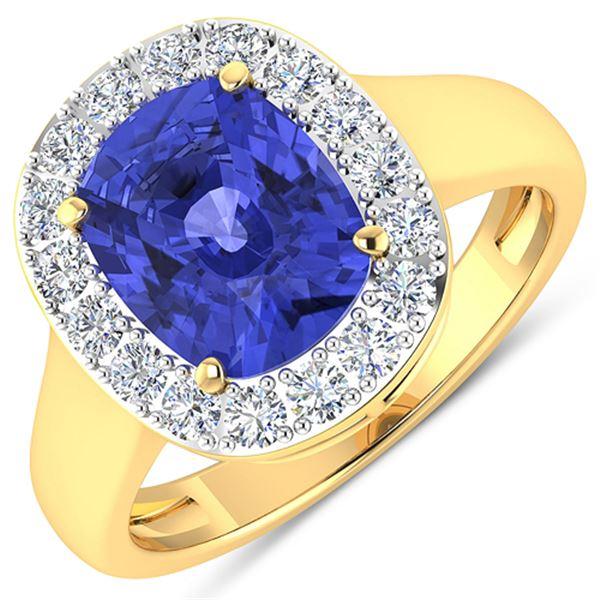 Natural 3.61 CTW Tanzanite & Diamond Ring 14K Yellow Gold - REF-127K3W