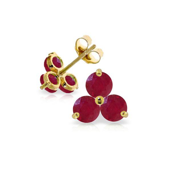Genuine 1.50 ctw Ruby Earrings 14KT Yellow Gold - REF-22K2V