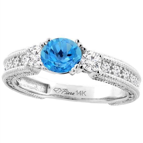 1.55 CTW Swiss Blue Topaz & Diamond Ring 14K White Gold - REF-85V5R
