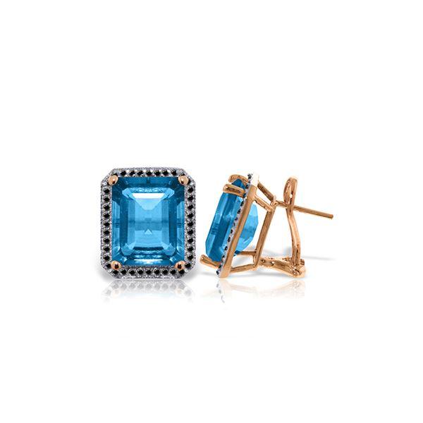 Genuine 15.6 ctw Blue Topaz & Black Diamond Earrings 14KT Rose Gold - REF-131T3A