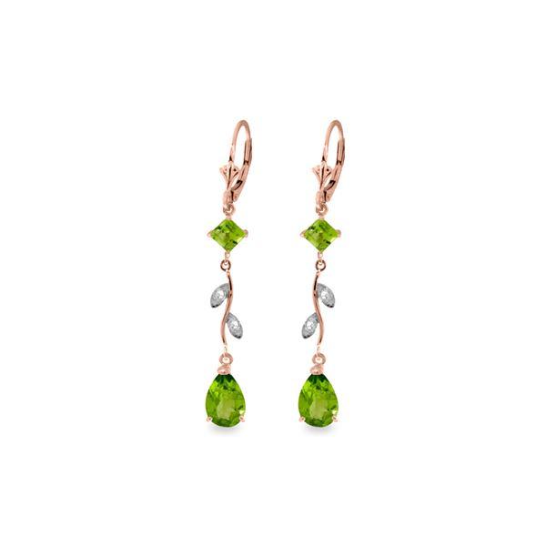 Genuine 3.97 ctw Peridot & Diamond Earrings 14KT Rose Gold - REF-44W9Y
