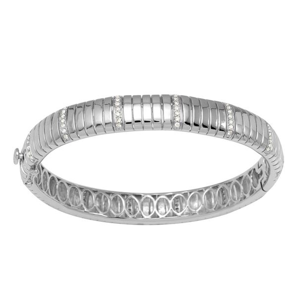 Natural 0.84 CTW Diamond Bangle 14K White Gold - REF-237N6Y