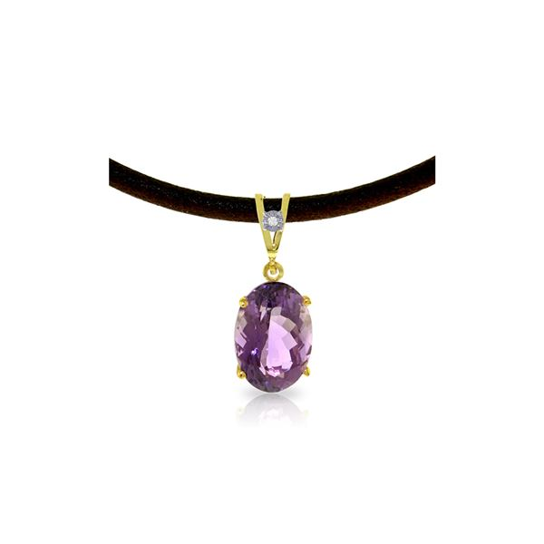 Genuine 7.56 ctw Amethyst & Diamond Necklace 14KT Yellow Gold - REF-35K5V