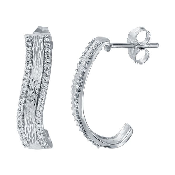 Natural 0.33 CTW Diamond Earrings W=20MM 14K Gold - REF-70T2X