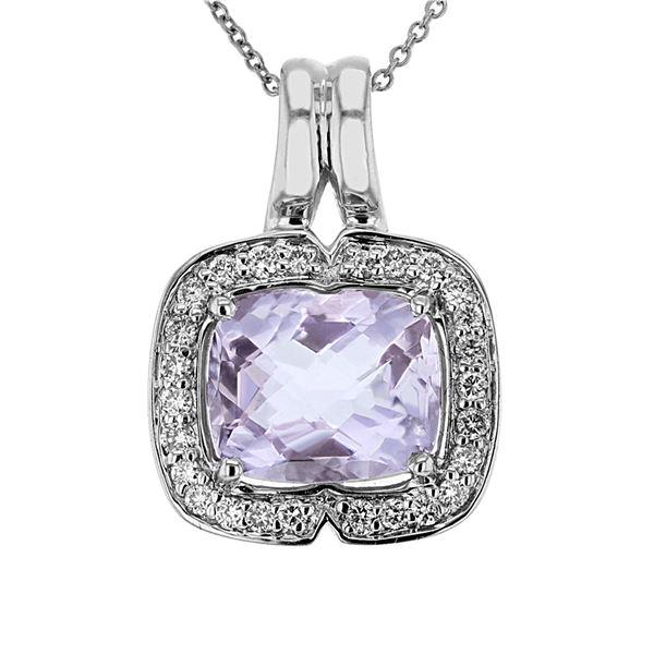 Natural 4.19 CTW Amethyst & Diamond Necklace 14K Gold - REF-73F8M