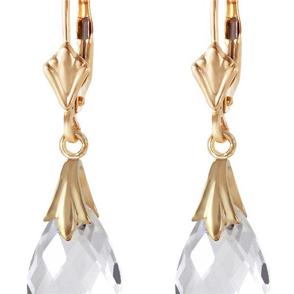 Genuine 6 ctw White Topaz Earrings 14KT Yellow Gold - REF-27X8M