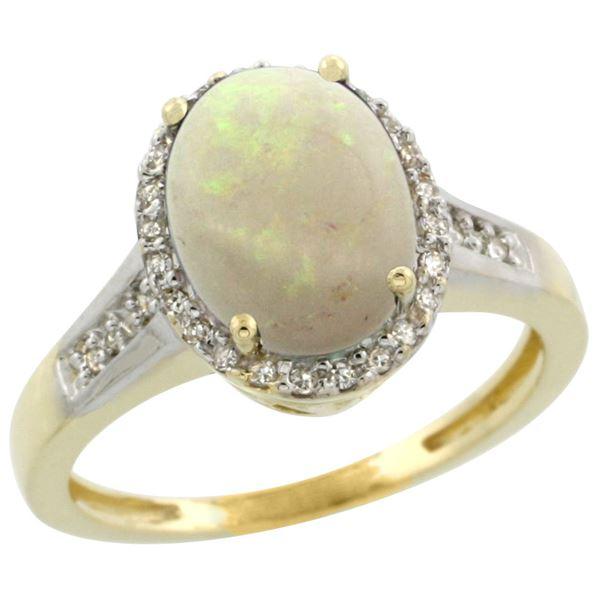 2.60 CTW Opal & Diamond Ring 10K Yellow Gold - REF-46F4N