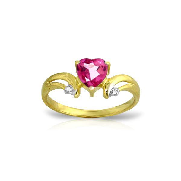 Genuine 0.96 ctw Pink Topaz & Diamond Ring 14KT Yellow Gold - REF-42X2M