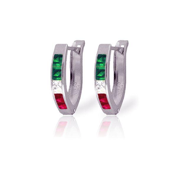 Genuine 1.28 ctw Emerald, White Topaz & Ruby Earrings 14KT White Gold - REF-26N7R