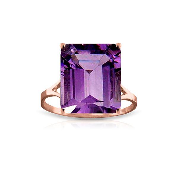 Genuine 6.5 ctw Amethyst Ring 14KT Rose Gold - REF-43K8V