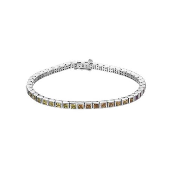 Natural 6.26 CTW Multi-Sapphire Bracelet 14K White Gold - REF-186F3M