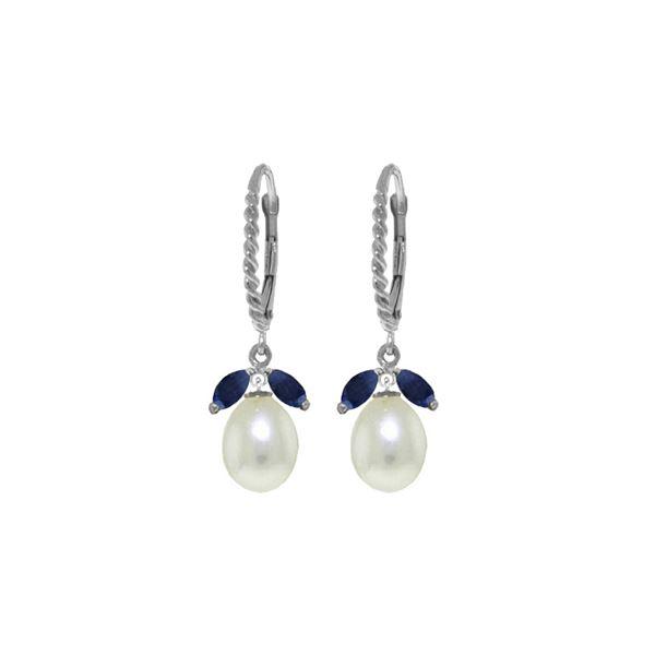 Genuine 9 ctw Sapphire & Pearl Earrings 14KT White Gold - REF-42X4M