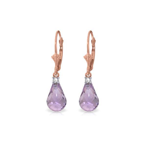 Genuine 4.6 ctw Amethyst & Diamond Earrings 14KT Rose Gold - REF-30V2W