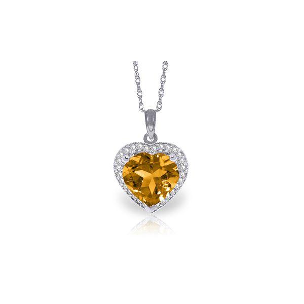 Genuine 3.24 ctw Citrine & Diamond Necklace 14KT White Gold - REF-59N3R
