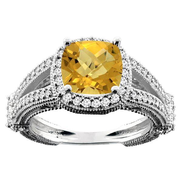 4.10 CTW Quartz & Diamond Ring 10K White Gold - REF-42M4A