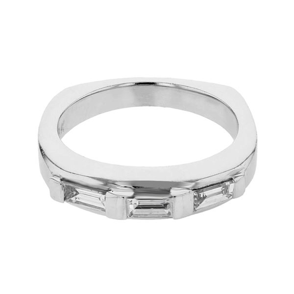 Natural 0.51 CTW Baguette Band Ring W=4MM 18K Gold - REF-83N7Y