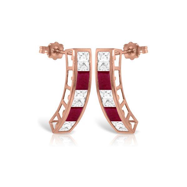 Genuine 4.7 ctw White Topaz Earrings 14KT Rose Gold - REF-43W8Y