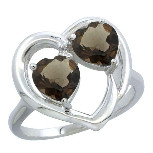 2.60 CTW Quartz & Quartz Ring 14K White Gold - REF-33X9M