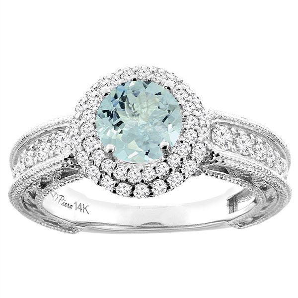 1.25 CTW Aquamarine & Diamond Ring 14K White Gold - REF-93A7X