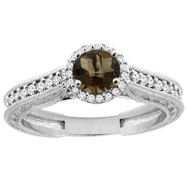 1.24 CTW Quartz & Diamond Ring 14K White Gold - REF-57R4H