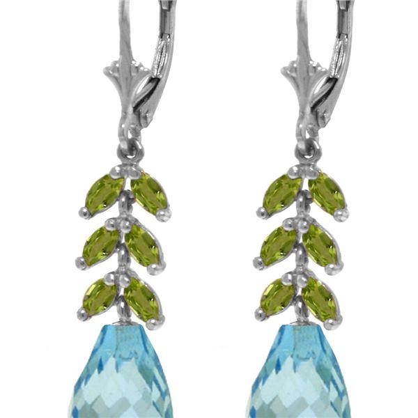 Genuine 11.20 ctw Blue Topaz & Peridot Earrings 14KT White Gold - REF-56F2Z