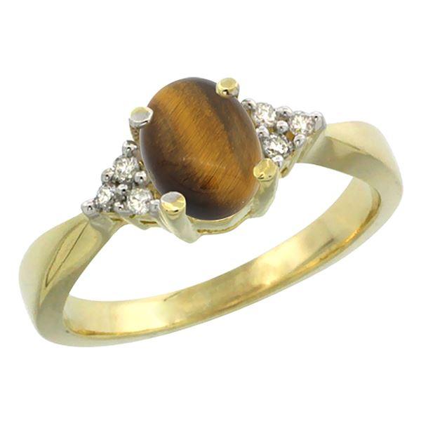 0.81 CTW Tiger Eye & Diamond Ring 14K Yellow Gold - REF-52R5H