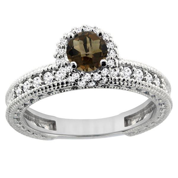 0.91 CTW Quartz & Diamond Ring 14K White Gold - REF-65F9N