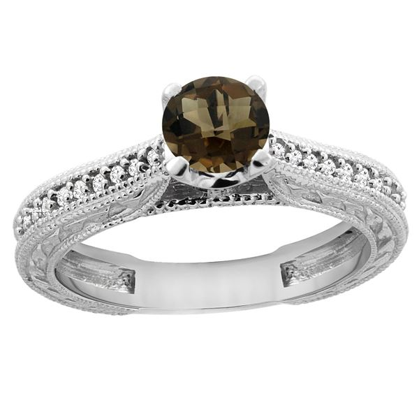 0.71 CTW Quartz & Diamond Ring 14K White Gold - REF-53M2A