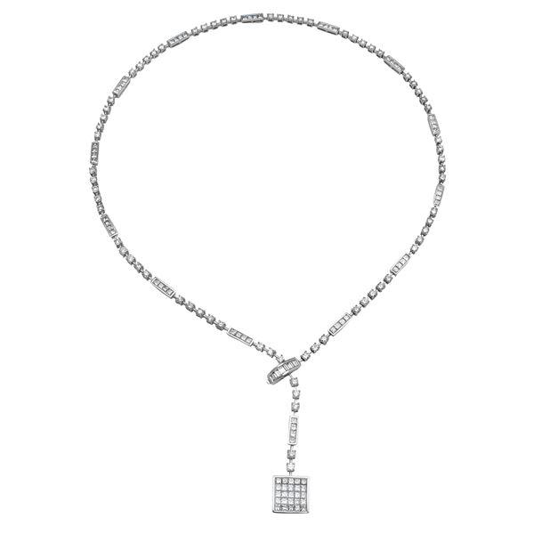 Natural 9.24 CTW Diamond & Baguette Necklace 14K White Gold - REF-985F5M