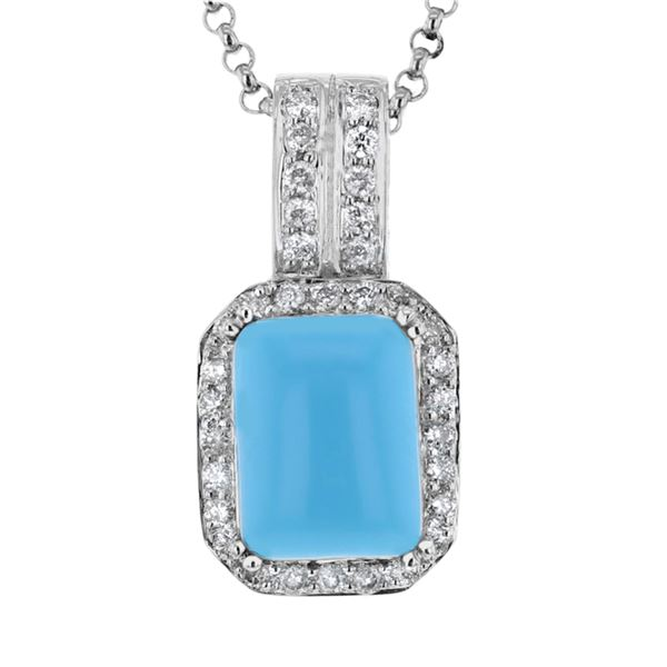 Natural 4.37 CTW Turquoise & Diamond Necklace 14K White Gold - REF-94T5X