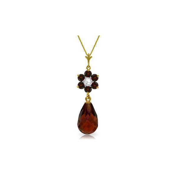 Genuine 2.78 ctw Garnet & Diamond Necklace 14KT Yellow Gold - REF-31N2R
