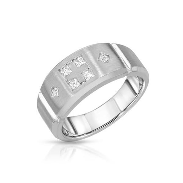 Natural 0.45 CTW Princess Diamond Ring 14K White Gold - REF-108T2X